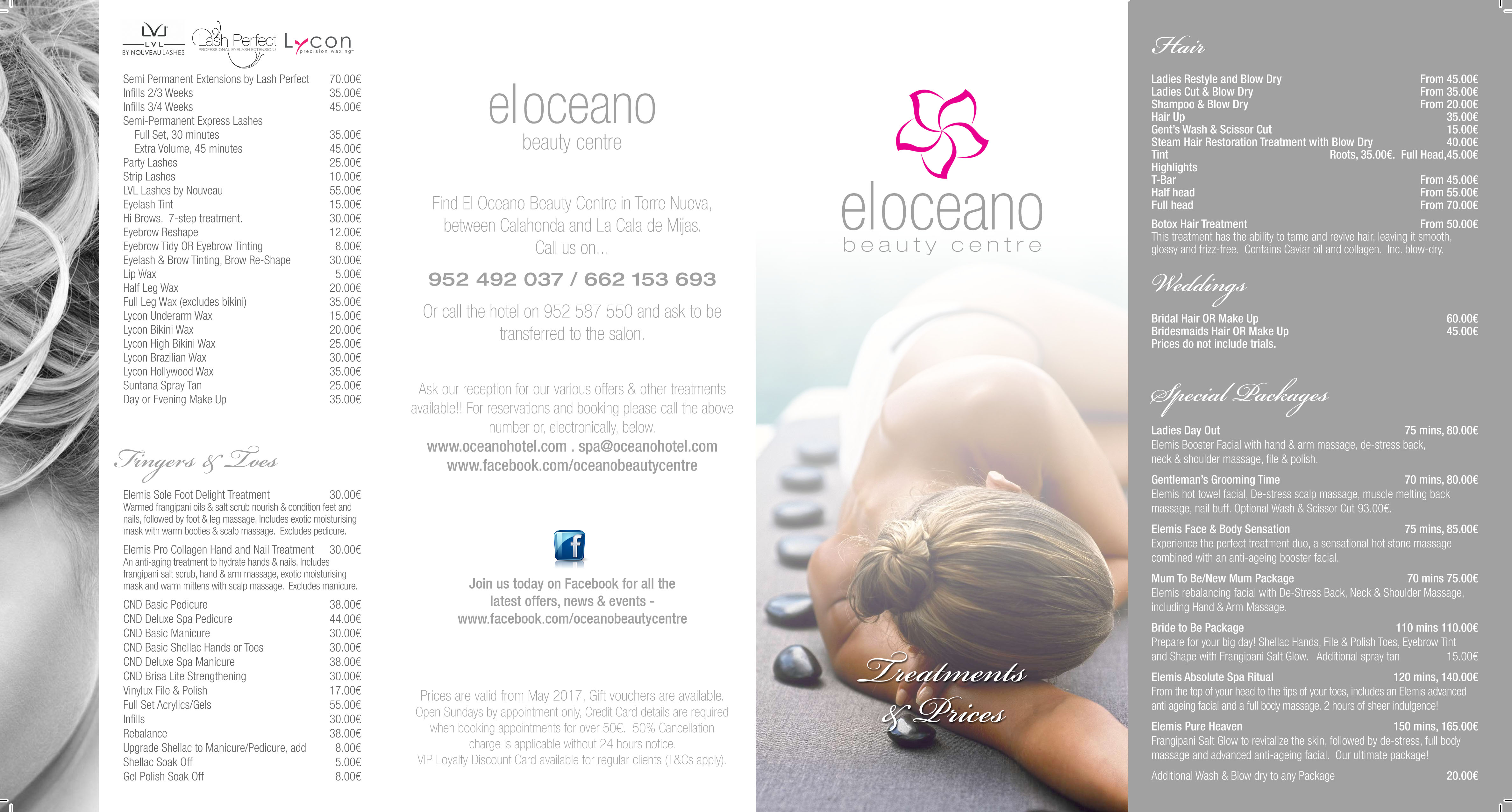 Treatments and prices el oceano beauty salon for A trial beauty treatment salon