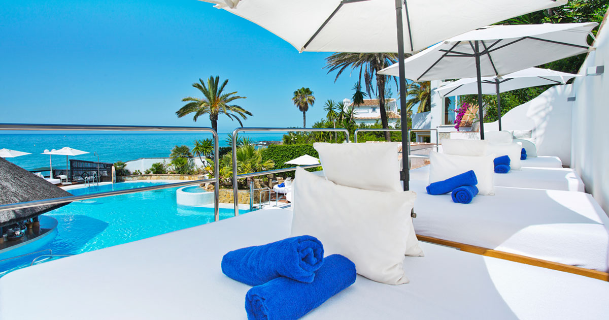 Stunning Views From The Vip Sunbeds At El Oceano Hotel On Costa Del Sol In