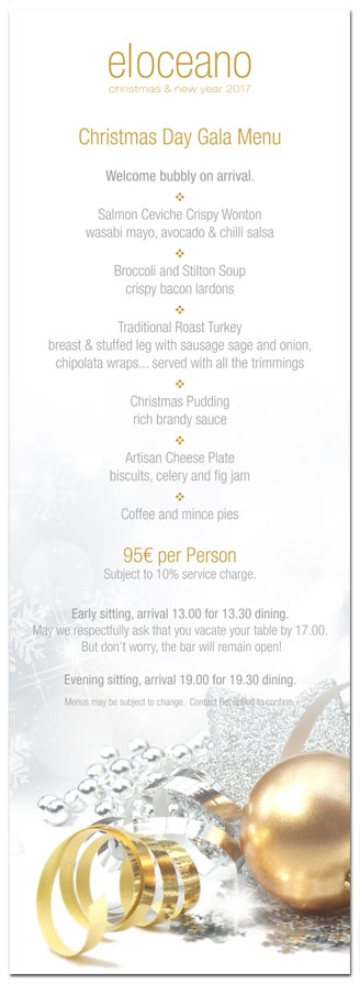 El Oceano Restaurant Christmas Day 2017 Gala Menu