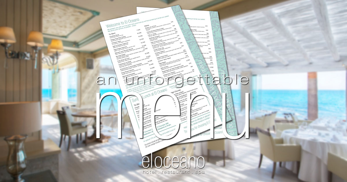 Menus at El Oceano Beachfront Restaurant OG01