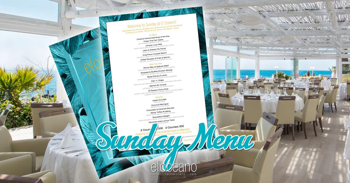 Sunday Lunch Menu El Oceano Hotel Restaurant VIP Sun Terrace OG01